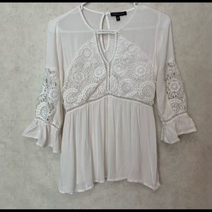 Kendall & Kylie White Detailed Shirt Bell Sleeves